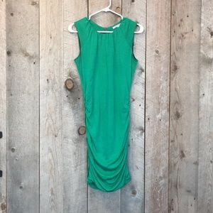 DVF green ruched form fit bodycon mini dress 4